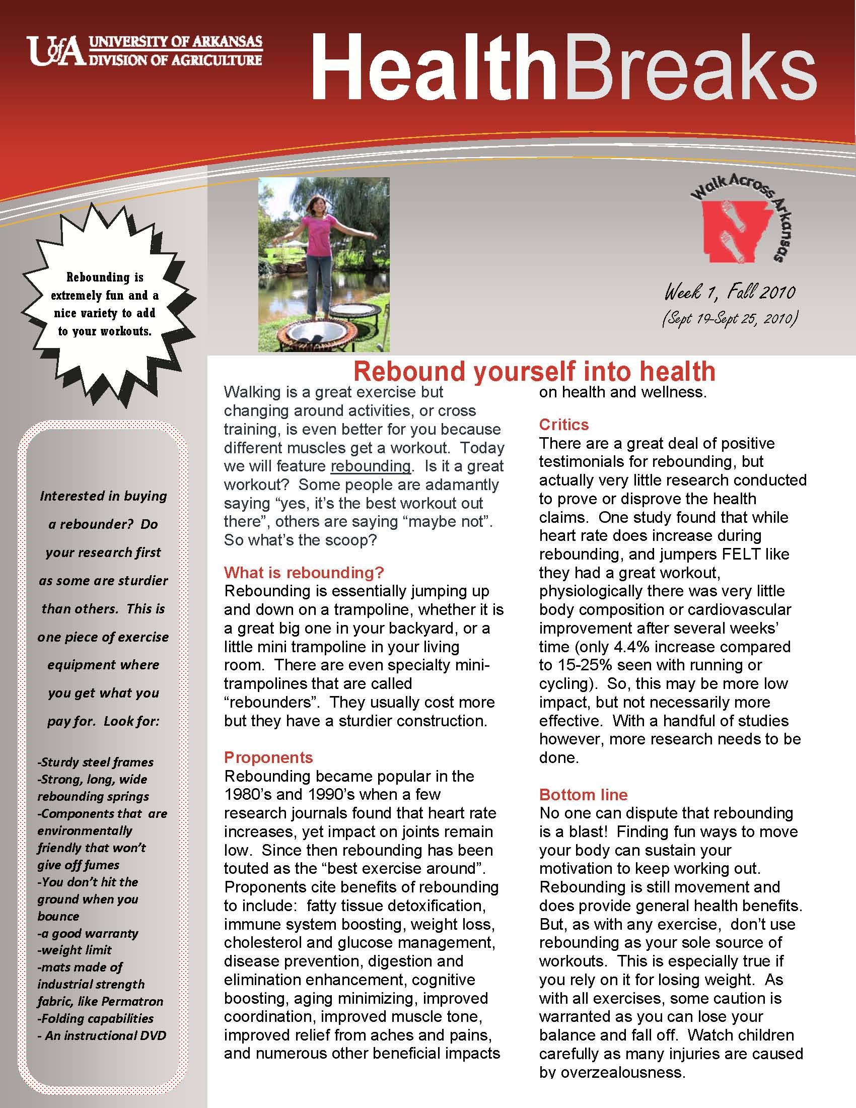 Introduction to the Health Breaks Newsletter   Walk Across Arkansas